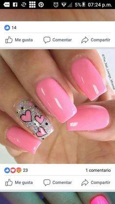 Fancy Nails, Love Nails, Pretty Nails, Metallic Nails, Cute Acrylic Nails, Pink Nail Art, Pink Nails, Acryl Nails, Valentine Nail Art