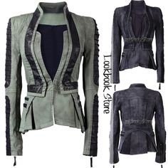 Shop Denim PU Leather Zip Sleeves Pleated Tuxedo Jacket Blazer on sale at Tidestore with trendy design and good price. Come and find more fashion Jackets here. Denim Women, Autumn Fashion, Denim Blazer, Jackets, Outfits, Womens Fashion, Couture, Clothes, Cool Outfits