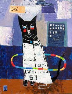 """Hula Cat"" Mixed Media on Canvas; Nathaniel Mather"