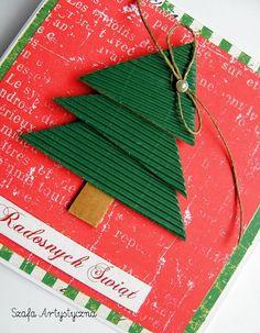 Ręcznie robiona kartka na boże narodzenie z choinką / Christmas cards
