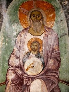 """(about 1260-1280 ) is a very interesting and rare depiction of St. Triados . This illustration occupies the dome of the inner narthex of the church and of the iconographic type is """" of Paternity """" . God the Father , full body , in the form of the Ancient of Days , sitting on a rainbow holding in his arms a bearded Christ at a mature age ( the"""