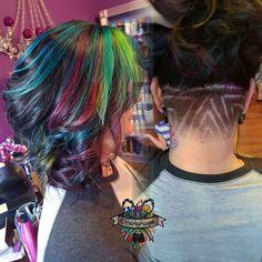 Melissa and her oil slick color with an Aztec undercut  #arcticfoxhaircolor #JackWinnColor @jackwinncolor #brazilianbondbuilder #behindthechair #modernsalon #beautylaunchpad #hotonbeauty #americansalon