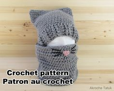 Ravelry: Cat Kit / Ensemble minou pattern by Akroche Tatuk Bonnet Crochet, Crochet Beanie, Baby Blanket Crochet, Crochet Baby, Knitted Hats, Learn To Crochet, Crochet For Kids, Diy Crochet, Crochet Crafts