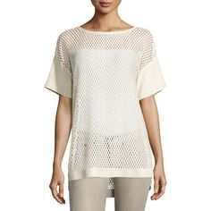 Lafayette 148 New York Camira Open-Knit Dolman Tee ($179) ❤ liked on Polyvore featuring tops, t-shirts, ivory, plus size, white top, white tee, boatneck tee, plus size tops and dolman tee