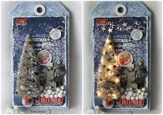 A Large Etcetera Tag decorated with an Idea-ology Half Tree, lots of Tim Holtz Christmas Idea-ology and LED Fairy Lights Christmas Tag, Christmas Crafts, Christmas Decorations, Christmas Vignette, Christmas Ideas, Snail Mail Pen Pals, Tim Holtz Stamps, Quick Crafts, Handmade Tags
