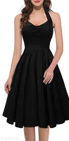 Retro Style Cut Out Sleeveless Black Halter Dress