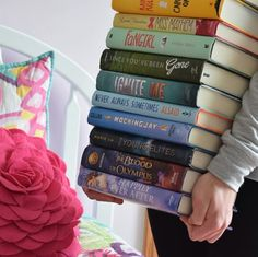 rainbow book stack by booknerd_reads