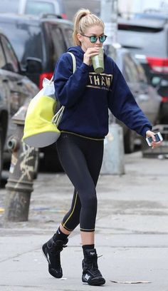 Gigi Hadid out in New York City after an intense boxing workout session...