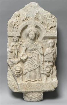 Cybele with attendants, Roman relief (marble), 3rd century AD, (Musée du Louvre, Paris).