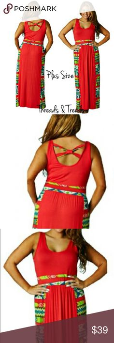 """Aztec Print Maxi Dress Plus size coral sundress with Aztec print color blocking. Featuring criss cross detail on back. Scoop neckline. Made of rayon and spandex. Size large, XL, XXL LENGTH 58""""                                                   Large bust 38"""" to 46""""                                                 XL bust 40"""" to 48""""                                                      XXL 42"""" to 50"""" Threads & Trends Dresses Maxi"""