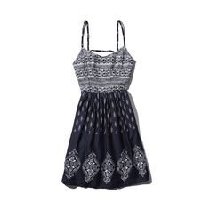 Abercrombie & Fitch Kiran Dress (76 BRL) ❤ liked on Polyvore featuring dresses, navy pattern, navy blue dress, navy blue babydoll dress, navy dresses, baby doll dress and blue dress