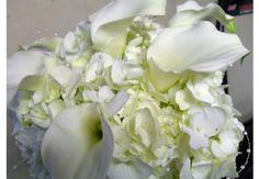 White Hydrangea, White Mini Calla Lilies, Pearl Bead Accent Bridal Bouquet