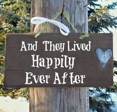 Possible engagement photo prop #1 HAPPILY EVER AFTER 1920s Barn Wood Sign Reclaimed Hand Painted Country Rustic Hand Cut Antique Roof Metal Heart Wedding Primitive Decor. $16.50, via Etsy.