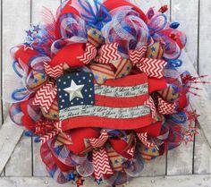 Patriotic Deco Mesh Wreath Memorial Day Deco by FestivalofWreaths, $105.00