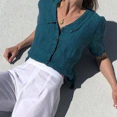Vintage Flax linen relaxed sea blouse