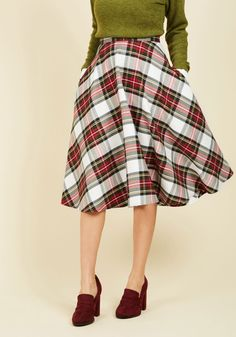 Keep the Classics Coming Midi Skirt. Expect your appearance at the potluck in this vintage-inspired midi skirt to command an encore performance, because its essential side pockets pockets and white, red, and green plaid are guaranteed to earn you a follow-up invite to the next event. #white #modcloth