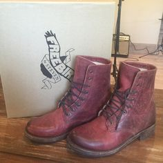 Free Bird Charlie Lace Up Boots Free Bird Charlie Lace Up Boots size 8 color wine. These are better looking in person! Wore them once for an hour I can say almost new! Free Bird Shoes Lace Up Boots