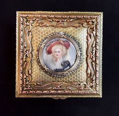 ANTIQUE FRENCH JEWELED  BRONZE JEWELRY BOX W/ MINIATURE PAINTING