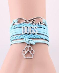 Dogs Lovers Leather Charm Bracelet | Fashion Clip