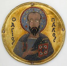 Medallion with Saint Paul from an Icon Frame - Date: ca. 1100 Geography: Made in Constantinople Culture: Byzantine Medium: Gold, silver, and enamel worked in cloisonné
