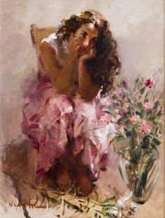 # Art by Nydia Lozano. Woman Painting, Figure Painting, Australian Painters, Antique Roses, Pink Art, Art Plastique, Pink Brown, Art World, Traditional Art