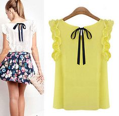 Cheap blouse green, Buy Quality blouses girls directly from China blous Suppliers: Plus Size New 2014 Summer Women's O-neck Lotus Leaf Pullover Lacing Bow Chiffon Shirt Top Women's Fashion Casual Blouse Chiffon Shirt, Chiffon Tops, Sleeveless Shirt, Crop Top Outfits, Spring Shirts, Mode Inspiration, European Fashion, Corsage, Dress To Impress
