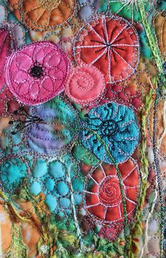 The Hoarder's Art Room. LOVE ALL THESE COLOURS AND THE WAY THEY ARE INCORPORATED INTO THIS EMBROIDERY - CURLEYTOP1.