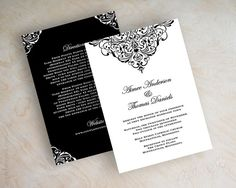 Vintage filigree wedding invitation, formal, victorian wedding invitation, victorian wedding stationery, black and white, Aubrey