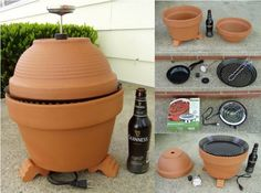 DIY Outdoor Smoker Projects from easy set-up flower clay pot smokers, recycled 55 gallon drum smoker to cedar smoke house. Outdoor Smoker, Diy Smoker, How To Make Clay, Construction, Diy Hanging, Diy Clay, Terracotta Pots, Clay Pots, Outdoor Cooking
