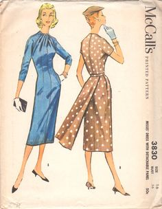 McCalls 3830 1950s Misses Slim Dress Pattern Draped Neckline Kimono Sleeves  detachable belted panel womens vintage sewing pattern by mbchills