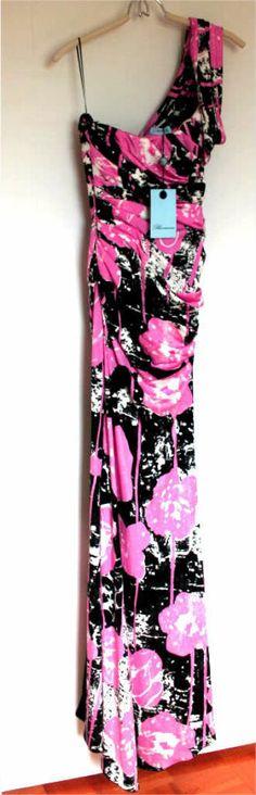 BLUMARINE-One-Shoulder-RUNWAY-Long-GOWN-Slit-DRESS-Pink-FLORAL-Italy