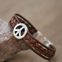 Peace bracelet for men peace symbol bracelet mens leather   Etsy