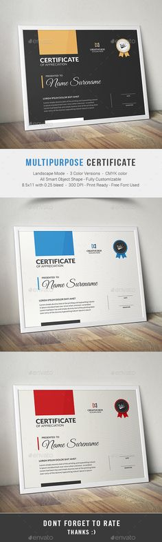 82 best This is Certificate images on Pinterest in 2018   Award     Buy Certificate by on GraphicRiver  This Multipurpose Certificates is  Customizable and ready to print  A help file is included with the main file