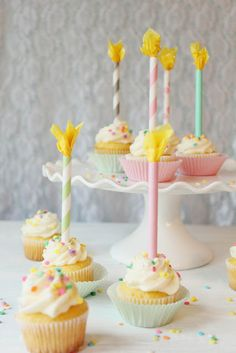 DIY Paper Straw Birthday Candle Cupcake Toppers