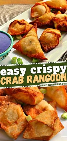 26 reviews · 24 minutes · Serves 40 · In search of more food ideas for your New Year's Eve party? Make the best recipe for Crab Rangoon! Filled with cream cheese and fresh crab meat, these crispy fried wontons are the ultimate appetizer… More Wonton Appetizers, Asian Appetizers, Wonton Recipes, Yummy Appetizers, Appetizers For Party, Seafood Recipes, Appetizer Recipes, Snack Recipes, Snacks