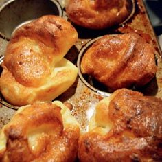 My husband taught me how to make Yorkshire puddings, and now I am hooked. I like to make them as individual puddings, baked in a non-stick muffin tin, but you can also make one large pudding in a high-sided pan and then cut it into portions. As a child, my dad used to eat them as a sweet dessert—you follow the same recipe, but finish off by pouring warm honey over the top. Comfort food at its best.