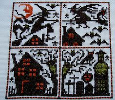 Prairie Schooler Halloween Cross Stitch Sampler - CATS, BATS,  WITCHES