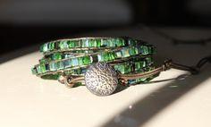 Emerald Green Cube 5 Wrap Bracelet by FiveJJewelry on Etsy