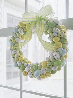 How-to: Cut skewers into two-inch lengths, leaving one end sharp. Using a paring knife, pierce shells of speckled malted-milk eggs and insert skewer tips. Push candy into an eight-inch foam ring; top with ribbon.  - GoodHousekeeping.com