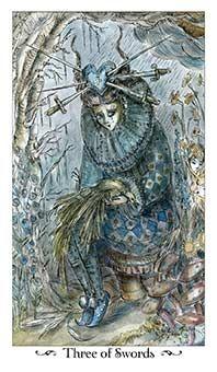 Three of Swords Tarot Card - Paulina Tarot Deck