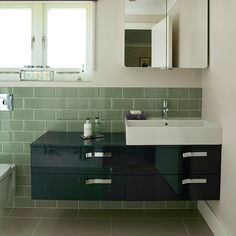 Sage green bathroom with sleek vanity unit | Bathroom decorating | Ideal Home | Housetohome.co.uk