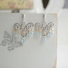 Boucles d'Oreilles en Argent Massif et Cristal de Swarovski, Ref 097