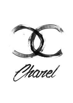 "Black Chanel logo 8.5/11""- Art Print Fashion Illustration"