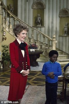 Mrs Reagan pictured on the popular TV show Diff'rent Strokes to promote the Just Say No campaign in 1983
