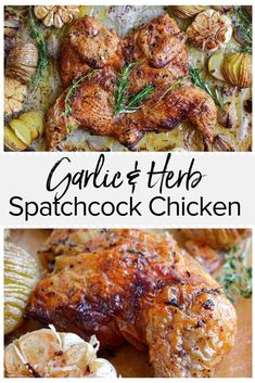This really is the best spatchcock chicken recipe and it s my favorite way to prepare a succulent roast chicken Loaded with garlic and herbs this flavorful dish is perfect for entertaining and is sure to impress your guests Whole Chicken Recipes Oven, Oven Roasted Chicken, Roast Chicken Recipes, Garlic Recipes, Roasting Chicken In Oven, Spatchcock Chicken Grilled, Best Whole Chicken Recipe, Rosted Chicken, Bbq Whole Chicken