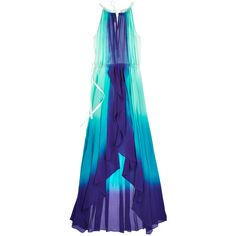 CALYPSO St. Barth Felicity Dip Dye Silk Dress (265 AUD) ❤ liked on Polyvore featuring dresses, vestidos, gowns, long dresses, jade cc, tiered dresses, blue tiered dress, dip dye dress and blue silk dress