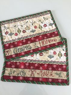 Quilted Christmas Ornament Mug Rug Candle Mat Quiltsy Handmade by on Etsy Christmas Mug Rugs, Quilted Christmas Ornaments, Christmas Placemats, Christmas Sewing, Christmas Crafts, Xmas, Quilted Placemat Patterns, Mug Rug Patterns, Quilt Placemats