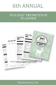The 2021 Holiday Promotion Success Kit is the ultimate planner to capture holiday sales.6th ANNUAL - REVISED AND UPDATED FOR 2021 WITH NEW PAGES AND MORE HOLIDAY PROMO IDEASUse this 4th Quarter Planner to plan your custom holiday promotions as well as Christmas, Thanksgiving, Black Friday, Cyber Monday, Giving Tuesday, and more. #christamassales Buy Now! Social Media Cheat Sheet, Seo News, Budget Template, Holiday Sales, Cyber Monday, Marketing And Advertising, Gift Guide, Black Friday, Tuesday