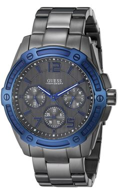 GUESS Men's U0601G1 Grey Multi-Function Watch with Day, Date, 24 Hour Int'l Time & Blue Top Ring