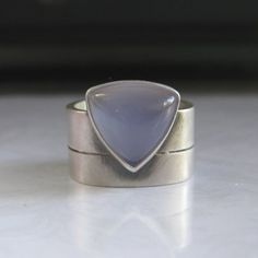 Periwinkle Blue Chalcedony Sterling Silver Wide Band Ring